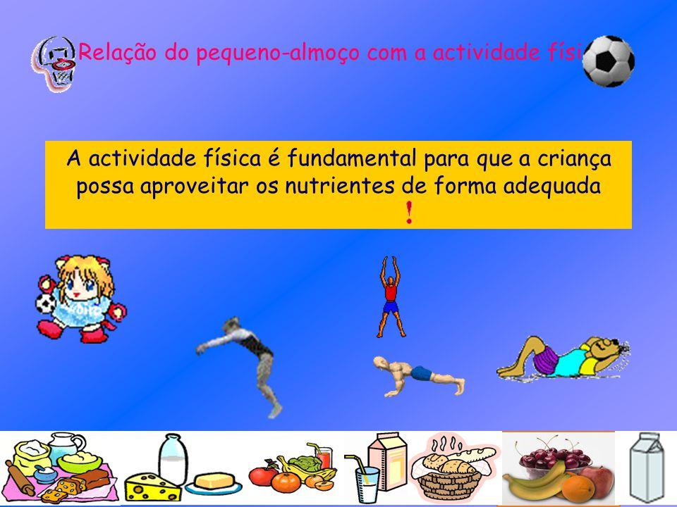 Relação do pequeno-almoço com a actividade física A actividade física é fundamental para que a criança possa aproveitar os nutrientes de forma adequad