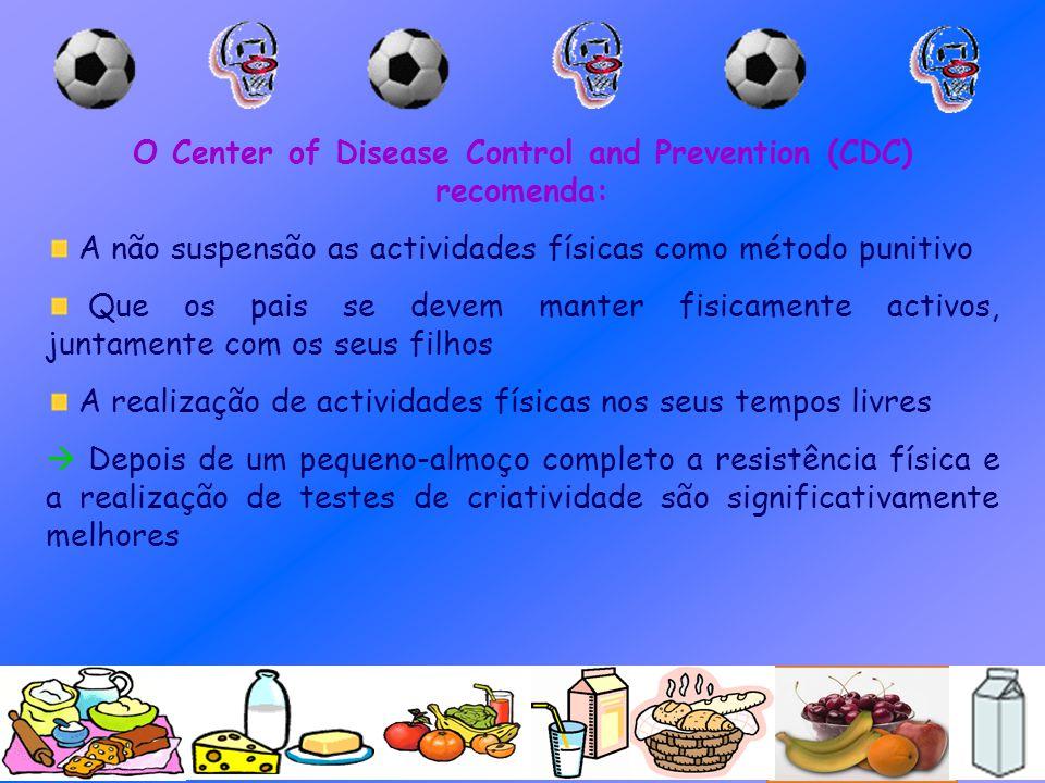 O Center of Disease Control and Prevention (CDC) recomenda: A não suspensão as actividades físicas como método punitivo Que os pais se devem manter fi