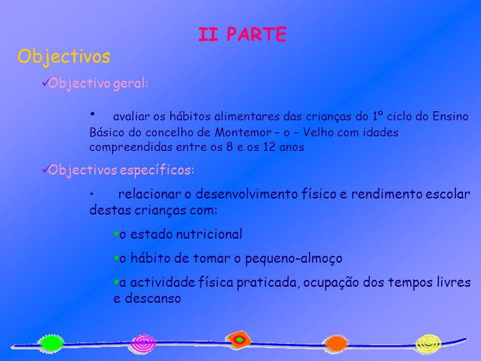II PARTE Objectivos Objectivo geral: avaliar os hábitos alimentares das crianças do 1º ciclo do Ensino Básico do concelho de Montemor – o – Velho com