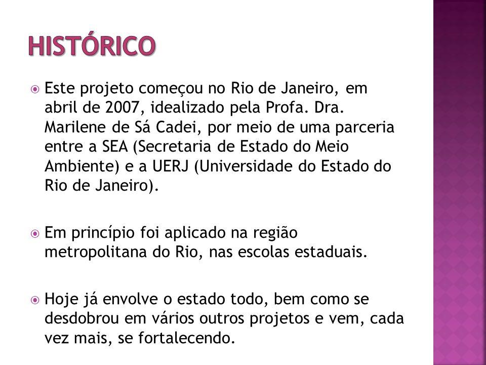 Este projeto começou no Rio de Janeiro, em abril de 2007, idealizado pela Profa.