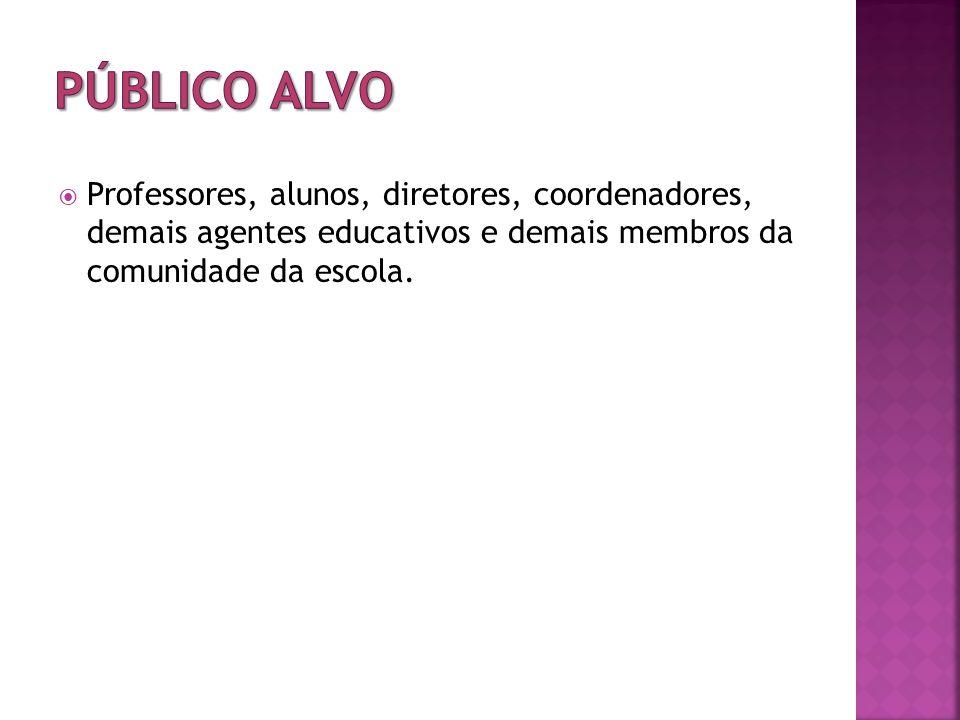 Professores, alunos, diretores, coordenadores, demais agentes educativos e demais membros da comunidade da escola.