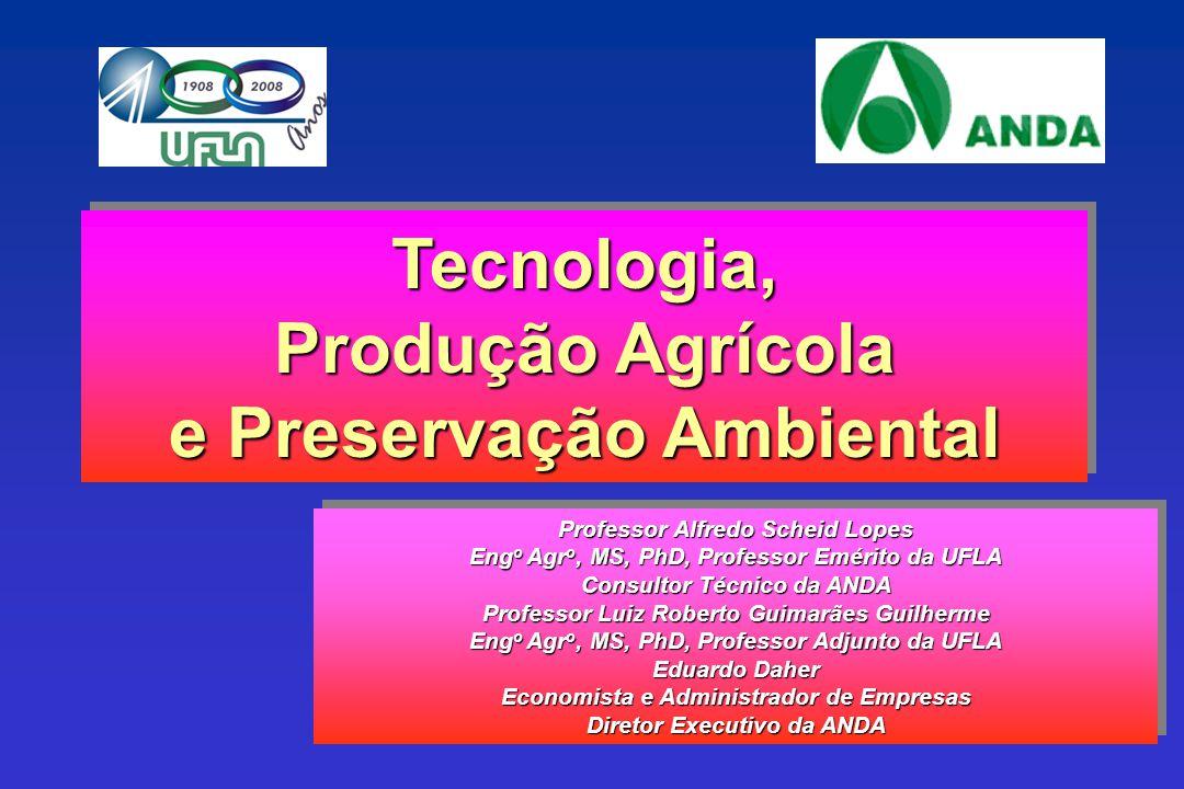 PRODUÇÃO AGRO-VEGETAL (BASE SECA - 16 CULTURAS) E CONSUMO DE NUTRIENTES BRASIL 1970/71 a 2007/08 Produção agro-vegetal Consumo de fertilizantes (N+P 2 O 5 +K 2 O) Índice 100: 72/73 67,2 millhões t 1,89 milhões t Índice Fonte: ANDA, FIBGE, 2008.