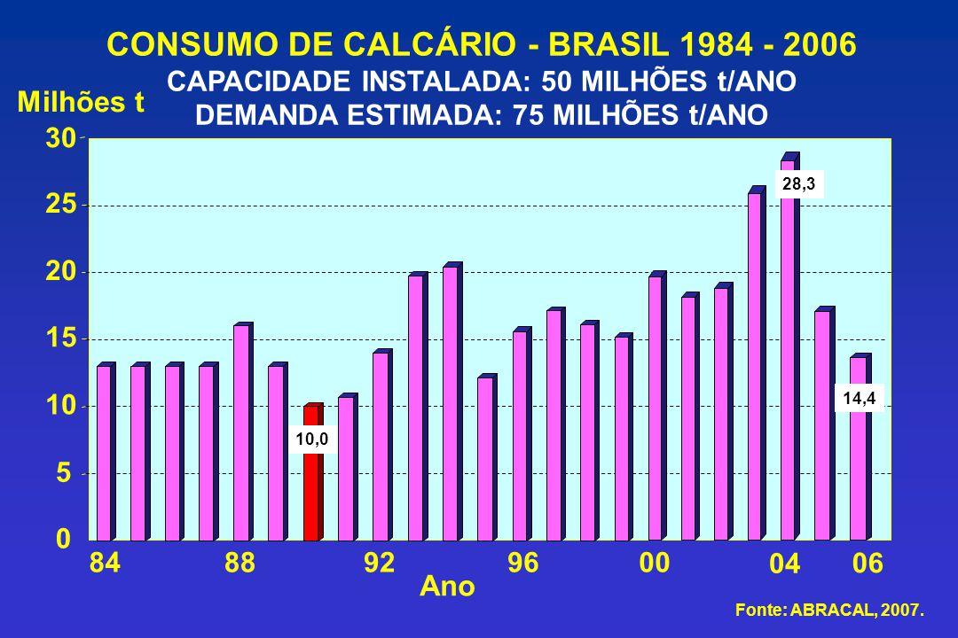 CONSUMO DE CALCÁRIO - BRASIL 1984 - 2006 CAPACIDADE INSTALADA: 50 MILHÕES t/ANO DEMANDA ESTIMADA: 75 MILHÕES t/ANO Milhões t 0 5 10 15 20 25 848892960