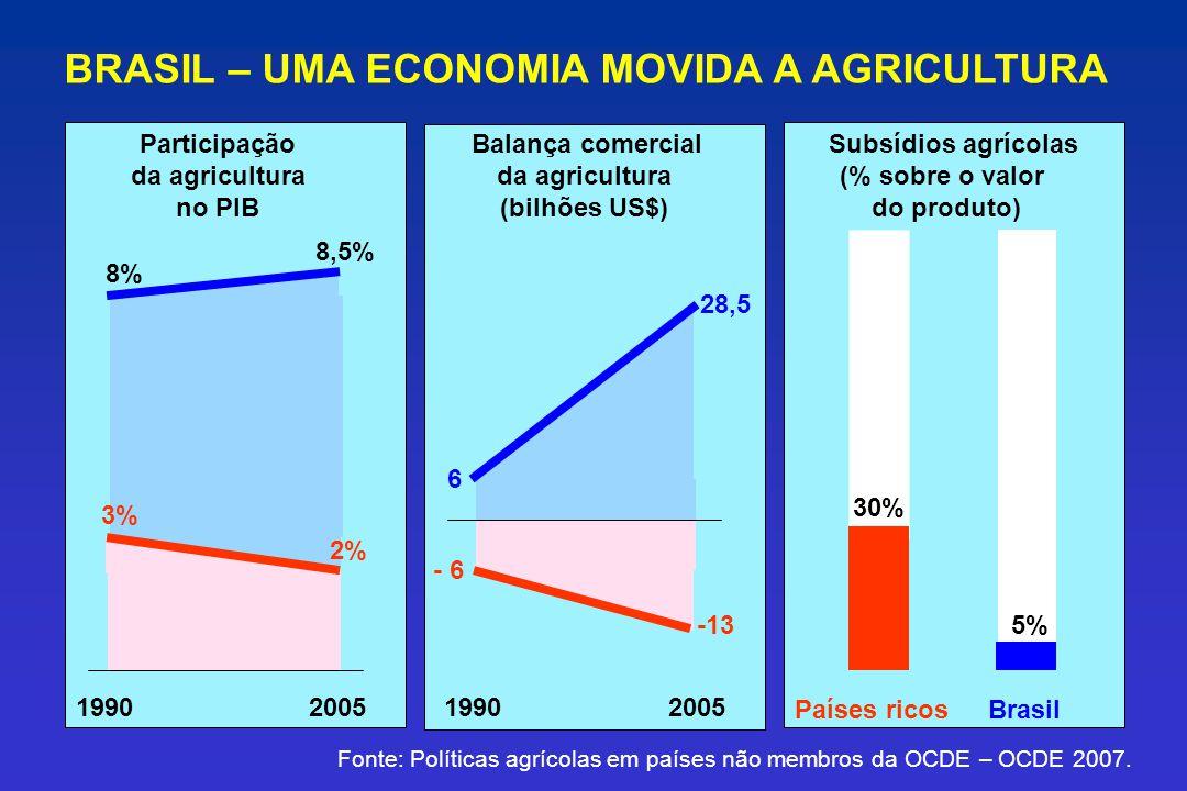 BRASIL – UMA ECONOMIA MOVIDA A AGRICULTURA Fonte: Políticas agrícolas em países não membros da OCDE – OCDE 2007. Subsídios agrícolas (% sobre o valor