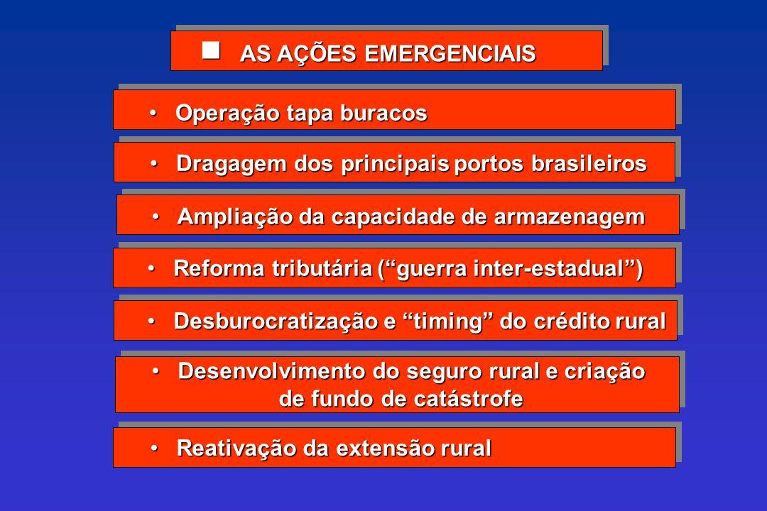 AS AÇÕES EMERGENCIAIS AS AÇÕES EMERGENCIAIS Operação tapa buracos Operação tapa buracos Dragagem dos principais portos brasileiros Dragagem dos princi