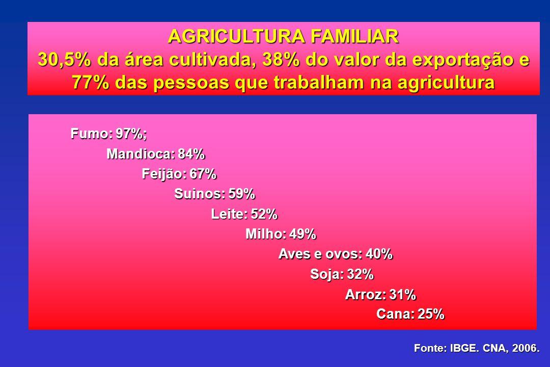 AGRICULTURA FAMILIAR 30,5% da área cultivada, 38% do valor da exportação e 30,5% da área cultivada, 38% do valor da exportação e 77% das pessoas que t