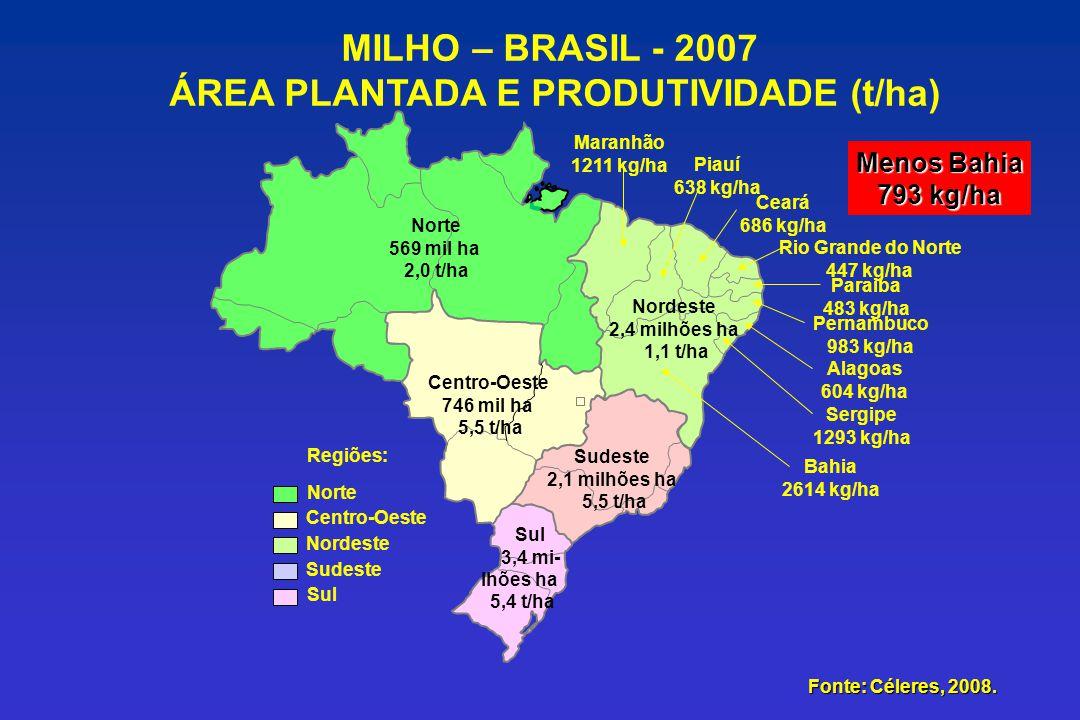 Maranhão 1211 kg/ha Norte Centro-Oeste Nordeste Sudeste Sul Regiões: Piauí 638 kg/ha Ceará 686 kg/ha Rio Grande do Norte 447 kg/ha Paraiba 483 kg/ha P