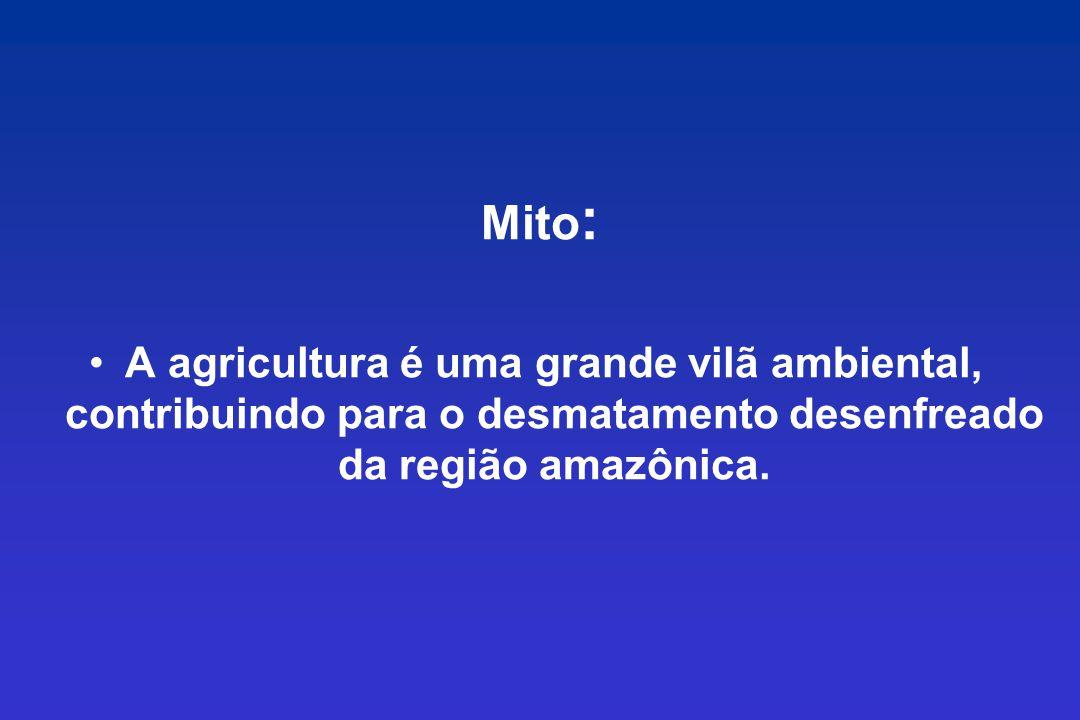 Mito : A agricultura é uma grande vilã ambiental, contribuindo para o desmatamento desenfreado da região amazônica.