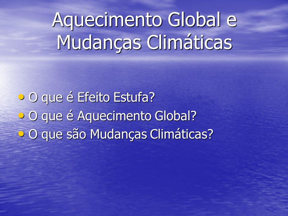 Aquecimento Global e Mudanças Climáticas O que é Efeito Estufa? O que é Efeito Estufa? O que é Aquecimento Global? O que é Aquecimento Global? O que s