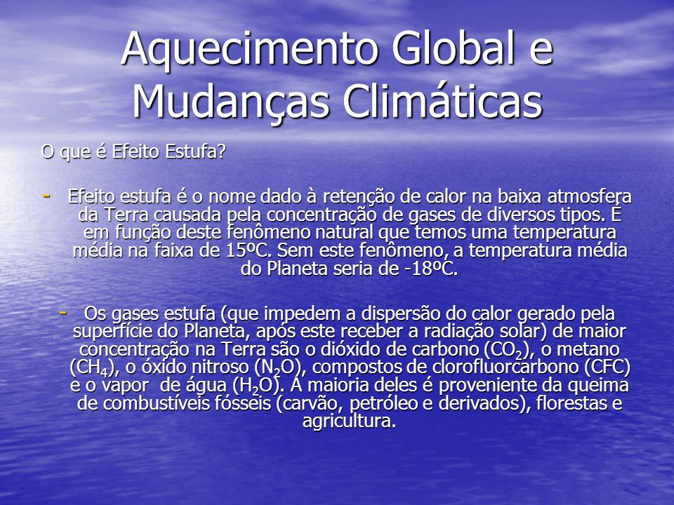 Aquecimento Global e Mudanças Climáticas O que é Efeito Estufa? - Efeito estufa é o nome dado à retenção de calor na baixa atmosfera da Terra causada