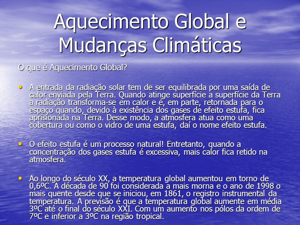 Aquecimento Global e Mudanças Climáticas O que é Aquecimento Global? A entrada da radiação solar tem de ser equilibrada por uma saída de calor enviada