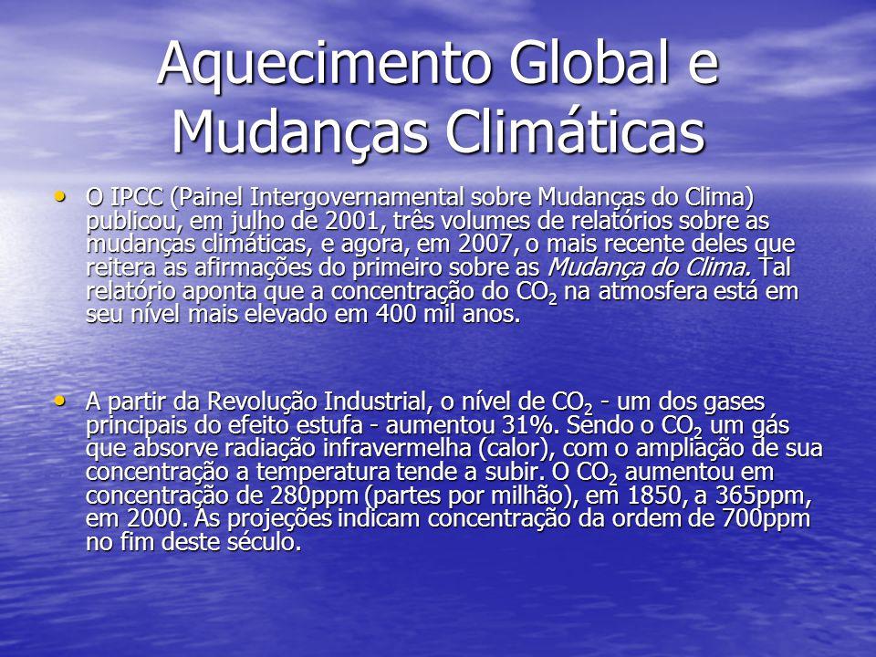 Aquecimento Global e Mudanças Climáticas O IPCC (Painel Intergovernamental sobre Mudanças do Clima) publicou, em julho de 2001, três volumes de relató