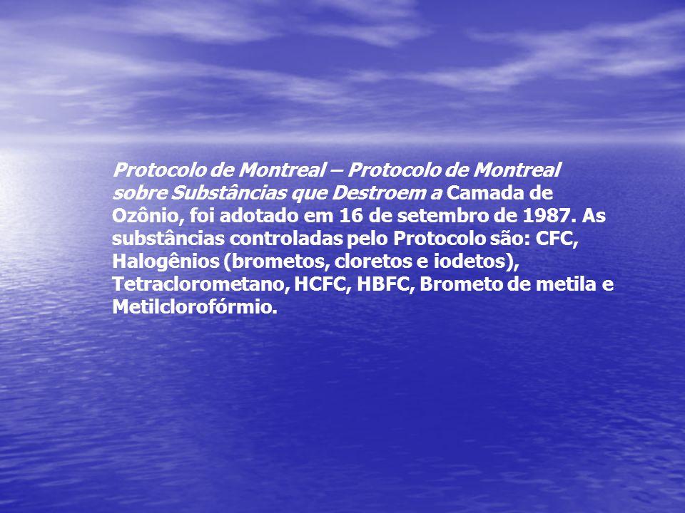 Protocolo de Montreal – Protocolo de Montreal sobre Substâncias que Destroem a Camada de Ozônio, foi adotado em 16 de setembro de 1987. As substâncias