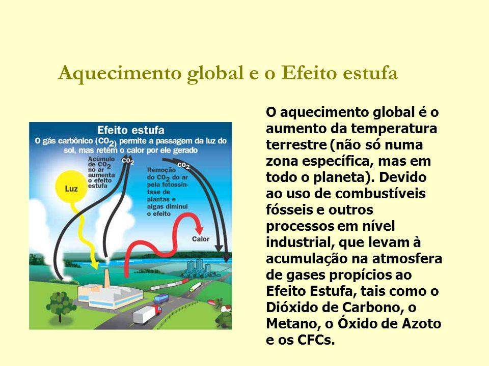 Aquecimento global e o Efeito estufa O aquecimento global é o aumento da temperatura terrestre (não só numa zona específica, mas em todo o planeta). D