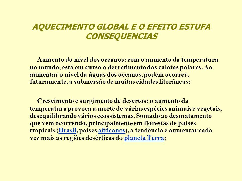 AQUECIMENTO GLOBAL E O EFEITO ESTUFA CONSEQUENCIAS Aumento do nível dos oceanos: com o aumento da temperatura no mundo, está em curso o derretimento d