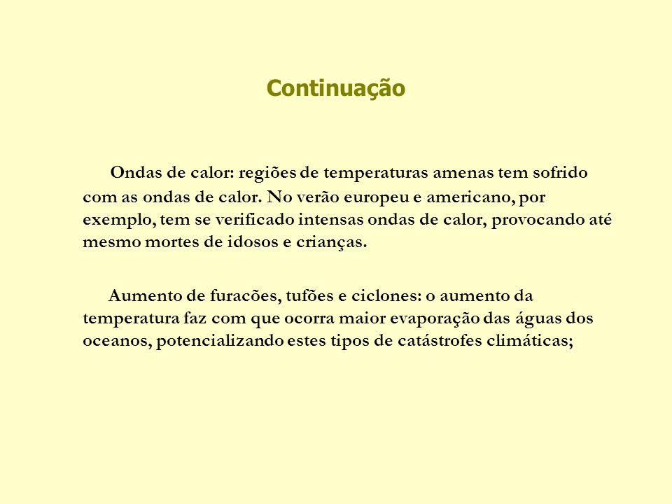 Continuação Ondas de calor: regiões de temperaturas amenas tem sofrido com as ondas de calor. No verão europeu e americano, por exemplo, tem se verifi