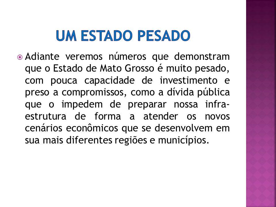 Adiante veremos números que demonstram que o Estado de Mato Grosso é muito pesado, com pouca capacidade de investimento e preso a compromissos, como a dívida pública que o impedem de preparar nossa infra- estrutura de forma a atender os novos cenários econômicos que se desenvolvem em sua mais diferentes regiões e municípios.