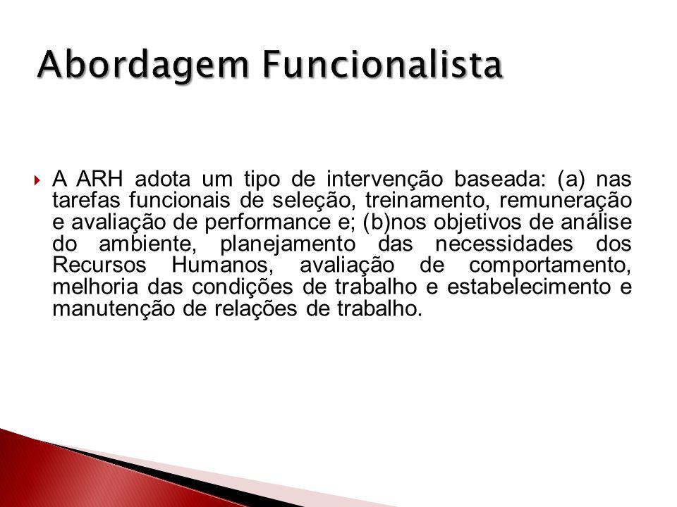 A ARH adota um tipo de intervenção baseada: (a) nas tarefas funcionais de seleção, treinamento, remuneração e avaliação de performance e; (b)nos objet