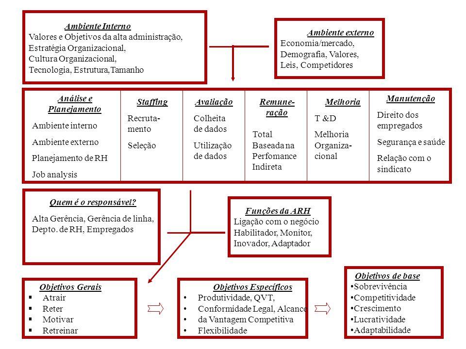 Ambiente externo Economia/mercado, Demografia, Valores, Leis, Competidores Funções da ARH Ligação com o negócio Habilitador, Monitor, Inovador, Adapta