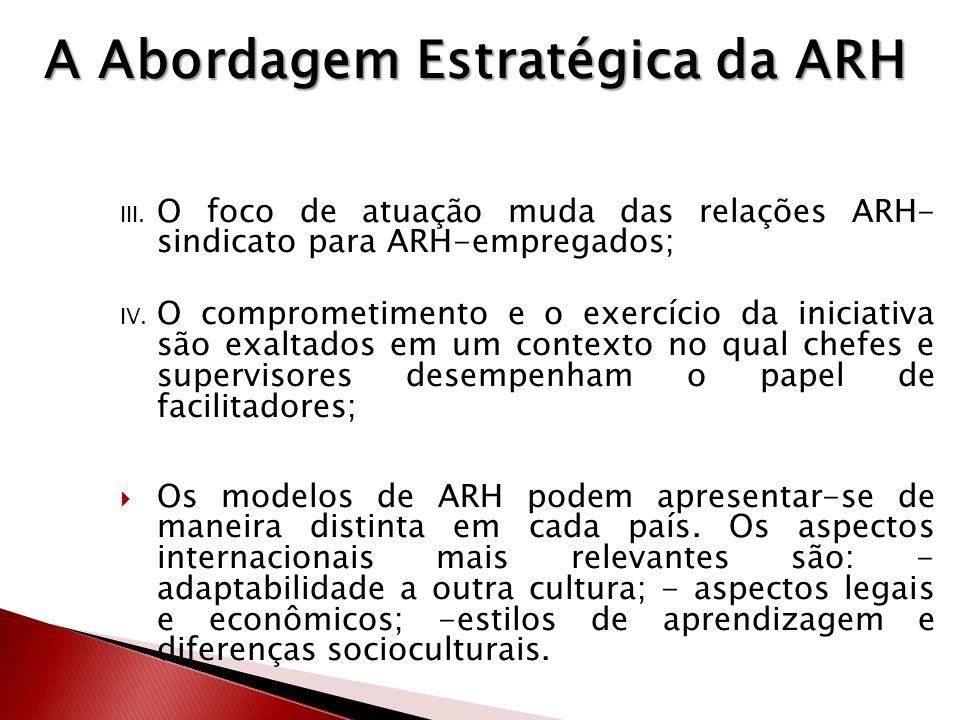 I. Kf II. fd III. O foco de atuação muda das relações ARH- sindicato para ARH-empregados; IV. O comprometimento e o exercício da iniciativa são exalta