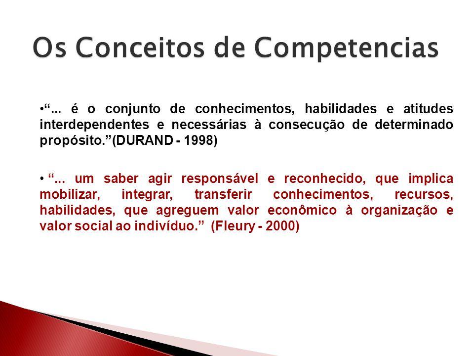 ... é o conjunto de conhecimentos, habilidades e atitudes interdependentes e necessárias à consecução de determinado propósito.(DURAND - 1998)... um s