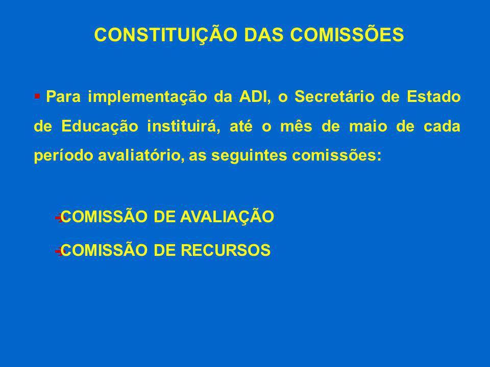 Para implementação da ADI, o Secretário de Estado de Educação instituirá, até o mês de maio de cada período avaliatório, as seguintes comissões: è COM