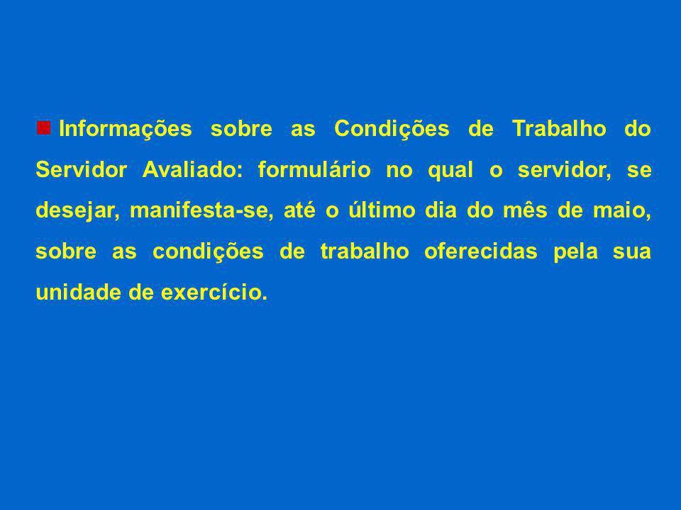 Informações sobre as Condições de Trabalho do Servidor Avaliado: formulário no qual o servidor, se desejar, manifesta-se, até o último dia do mês de m