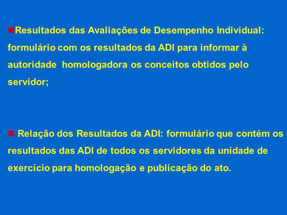 Resultados das Avaliações de Desempenho Individual: formulário com os resultados da ADI para informar à autoridade homologadora os conceitos obtidos p