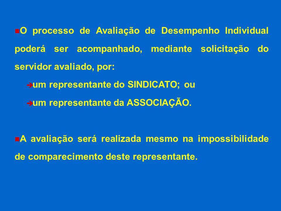 O processo de Avaliação de Desempenho Individual poderá ser acompanhado, mediante solicitação do servidor avaliado, por: è um representante do SINDICA