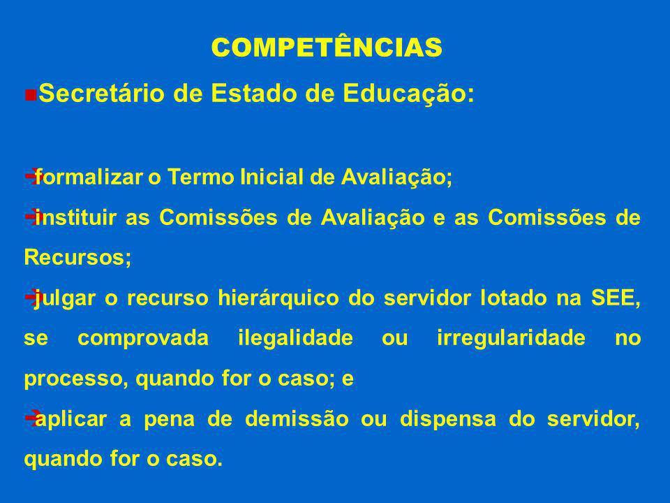Secretário de Estado de Educação: formalizar o Termo Inicial de Avaliação; instituir as Comissões de Avaliação e as Comissões de Recursos; julgar o re