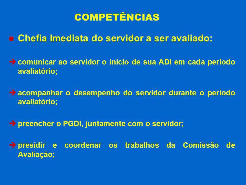 Chefia Imediata do servidor a ser avaliado: comunicar ao servidor o início de sua ADI em cada período avaliatório; acompanhar o desempenho do servidor