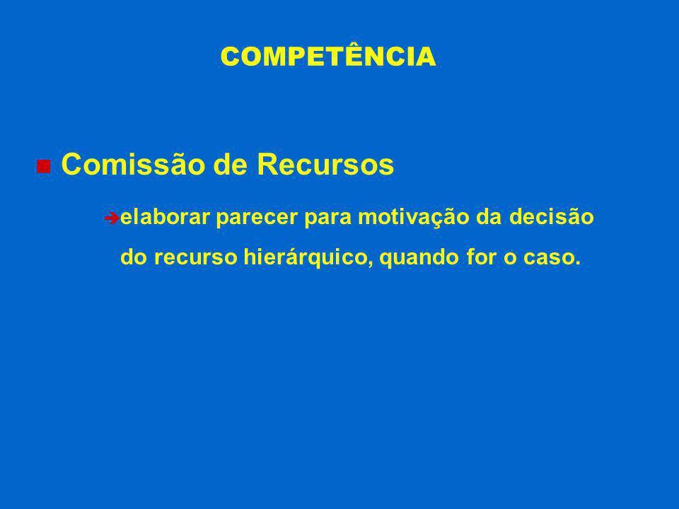 COMPETÊNCIA Comissão de Recursos è elaborar parecer para motivação da decisão do recurso hierárquico, quando for o caso.
