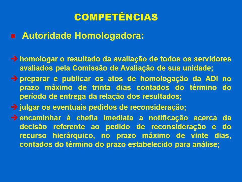 COMPETÊNCIAS Autoridade Homologadora: homologar o resultado da avaliação de todos os servidores avaliados pela Comissão de Avaliação de sua unidade; p