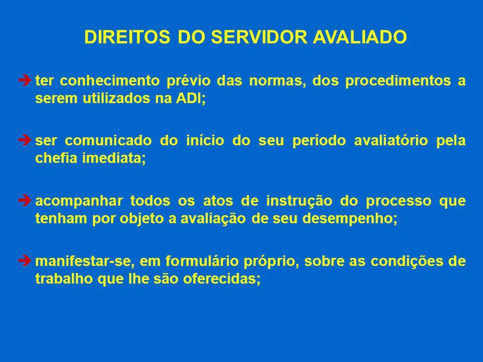 DIREITOS DO SERVIDOR AVALIADO ter conhecimento prévio das normas, dos procedimentos a serem utilizados na ADI; ser comunicado do início do seu período