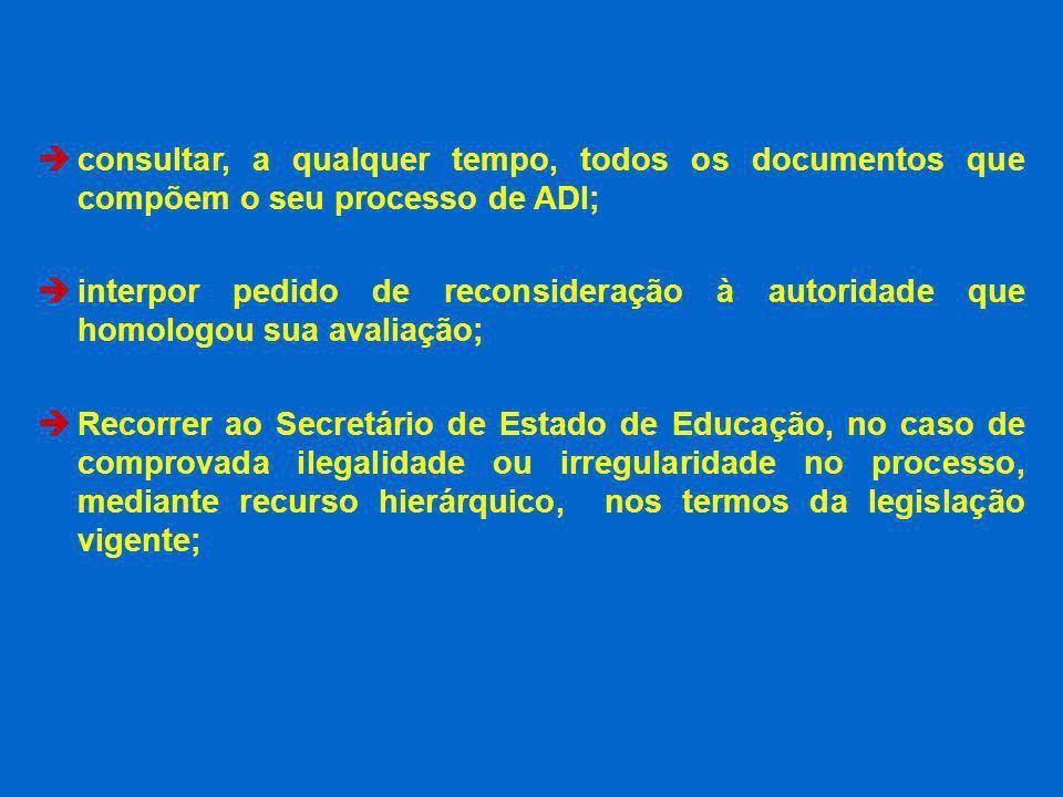 consultar, a qualquer tempo, todos os documentos que compõem o seu processo de ADI; interpor pedido de reconsideração à autoridade que homologou sua a