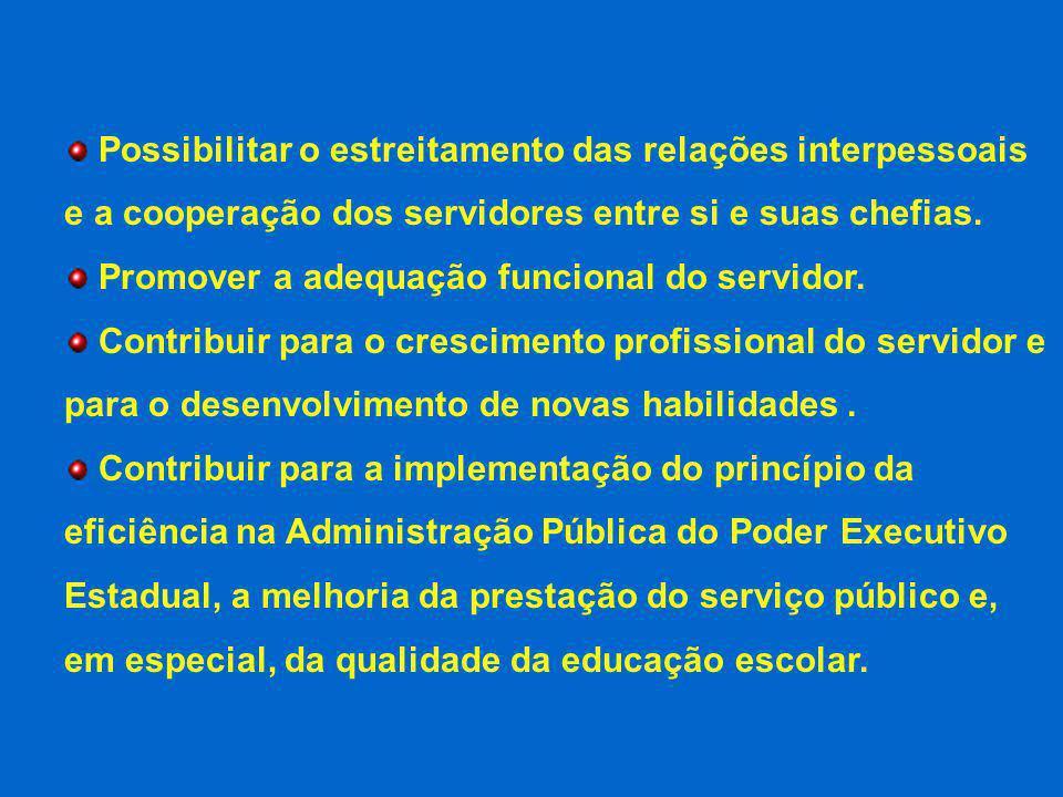 Possibilitar o estreitamento das relações interpessoais e a cooperação dos servidores entre si e suas chefias. Promover a adequação funcional do servi