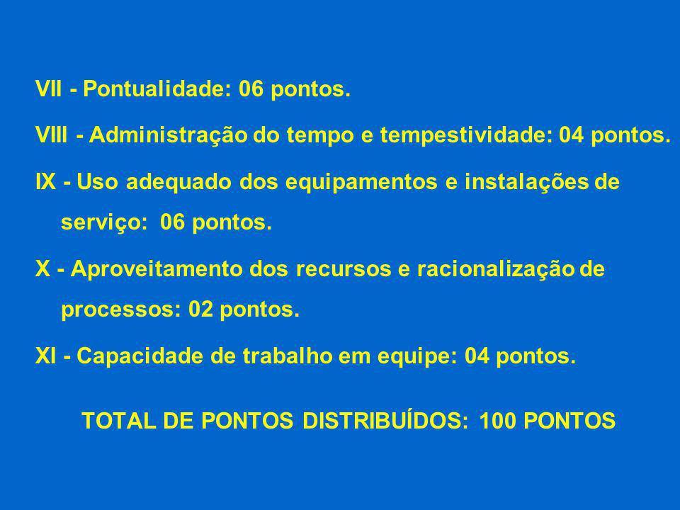 VII - Pontualidade: 06 pontos. VIII - Administração do tempo e tempestividade: 04 pontos. IX - Uso adequado dos equipamentos e instalações de serviço:
