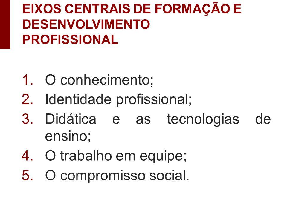 1.O conhecimento; 2.Identidade profissional; 3.Didática e as tecnologias de ensino; 4.O trabalho em equipe; 5.O compromisso social.