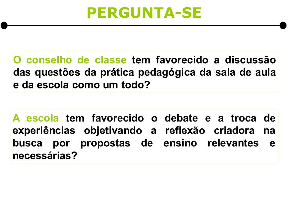 O conselho de classe tem favorecido a discussão das questões da prática pedagógica da sala de aula e da escola como um todo.