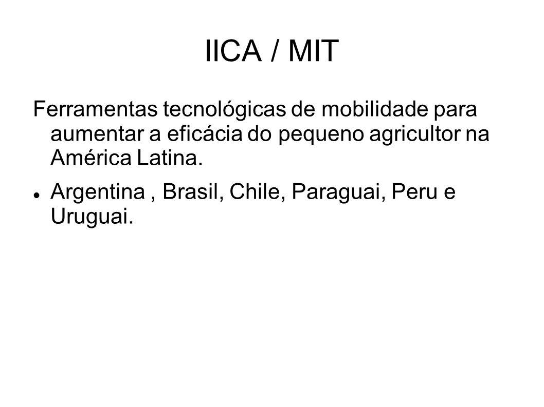 IICA / MIT Ferramentas tecnológicas de mobilidade para aumentar a eficácia do pequeno agricultor na América Latina. Argentina, Brasil, Chile, Paraguai