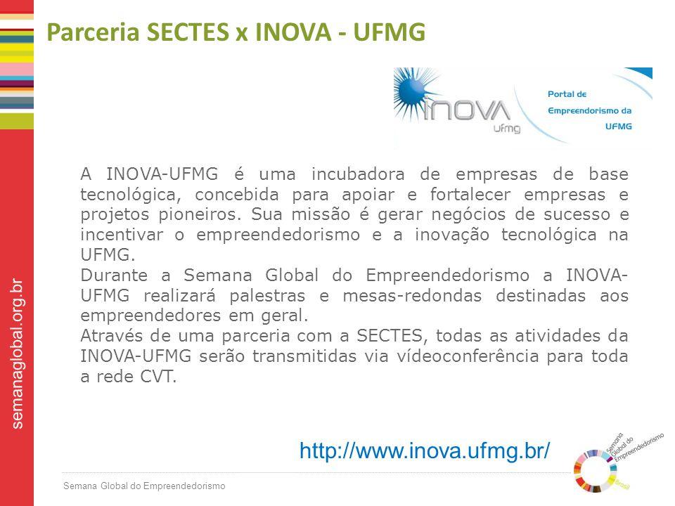 Semana Global do Empreendedorismo semanaglobal.org.br Parceria SECTES x INOVA - UFMG A INOVA-UFMG é uma incubadora de empresas de base tecnológica, concebida para apoiar e fortalecer empresas e projetos pioneiros.