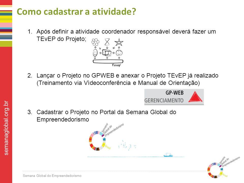 Semana Global do Empreendedorismo semanaglobal.org.br Como cadastrar a atividade.