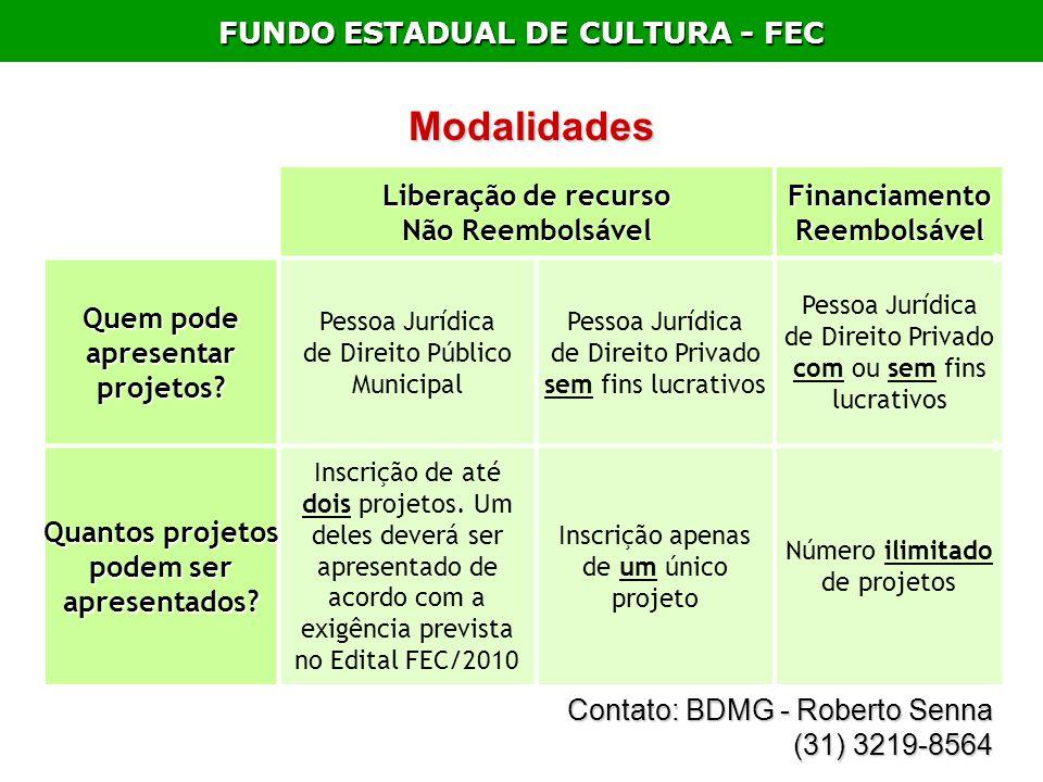 FUNDO ESTADUAL DE CULTURA - FEC Liberação de recurso Não Reembolsável Financiamento Reembolsável Quem pode apresentar projetos? Pessoa Jurídica de Dir