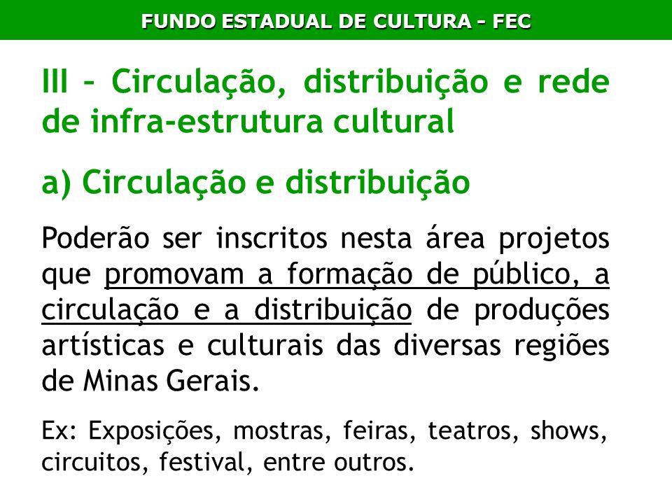 FUNDO ESTADUAL DE CULTURA - FEC III – Circulação, distribuição e rede de infra-estrutura cultural a) Circulação e distribuição Poderão ser inscritos n