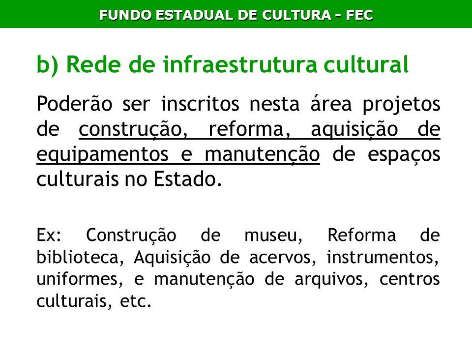 FUNDO ESTADUAL DE CULTURA - FEC b) Rede de infraestrutura cultural Poderão ser inscritos nesta área projetos de construção, reforma, aquisição de equi