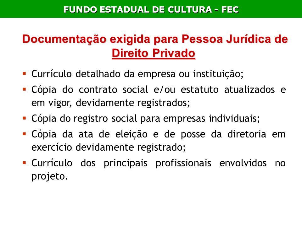 FUNDO ESTADUAL DE CULTURA - FEC Documentação exigida para Pessoa Jurídica de Direito Privado Documentação exigida para Pessoa Jurídica de Direito Priv
