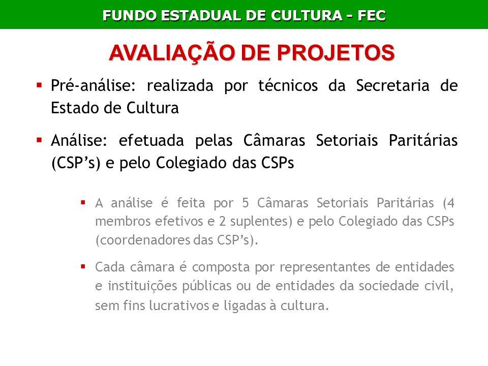 FUNDO ESTADUAL DE CULTURA - FEC AVALIAÇÃO DE PROJETOS Pré-análise: realizada por técnicos da Secretaria de Estado de Cultura Análise: efetuada pelas C