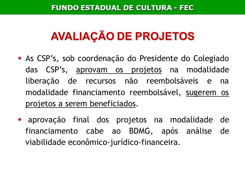 FUNDO ESTADUAL DE CULTURA - FEC AVALIAÇÃO DE PROJETOS As CSPs, sob coordenação do Presidente do Colegiado das CSPs, aprovam os projetos na modalidade