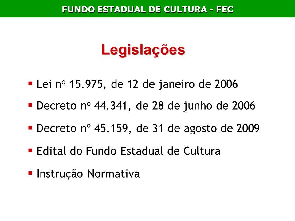 FUNDO ESTADUAL DE CULTURA - FEC Legislações Lei n o 15.975, de 12 de janeiro de 2006 Decreto n o 44.341, de 28 de junho de 2006 Decreto nº 45.159, de