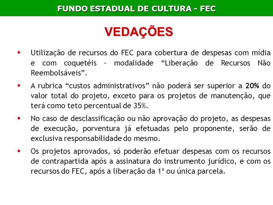 FUNDO ESTADUAL DE CULTURA - FEC VEDAÇÕES Utilização de recursos do FEC para cobertura de despesas com mídia e com coquetéis - modalidade Liberação de
